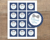 Bow Tie Printable Favor Tags, Navy & Grey Bow Tie Thank You Tags, Baby Boy Shower Thank You, Stickers, INSTANT DOWNLOAD