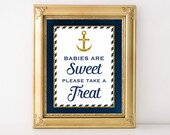 Babies Are Sweet Please Take A Treat Printabe Sign, Nautical Anchor Baby Shower Favor Sign, Navy and Gold Glitter, 2 Sizes, INSTANT DOWNLOAD