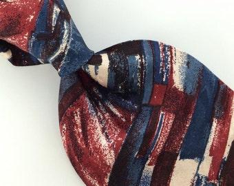 Ketch Us Made Art Deco Maroon Red Blue Silk Men Necktie I1-38 Excellent Ties Vintage Annata Cravatta