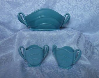 Stangl deco bowl and candleholders graceful organic handles