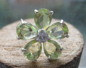 Sterling Silver Women's Flower Ring with Lab Created Light Green Citrine Stone Size 8 Ladies
