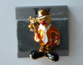 TJW by Mervyn's enamel clown brooch pin. Original card.