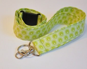Fabric Lanyard  ID Badge Holder -  Teacher lanyard - Pretty feminine modern green motif - Breakaway safety clasp