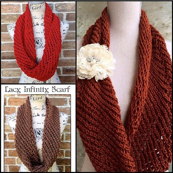 Lacy Infinity Scarf Knitting Pattern DIY By IndustrialWhimsy