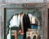 Reserved for Max Large Mirror Antique Indian Window Frame Moroccan Mirror Reclaimed Green and Turquoise Carved Mirror Boho Mirror Global