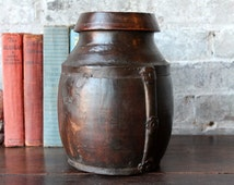 Small Wood Vase Vintage Reclaimed Indian Simple Brass Fitted Water Pot Boho Decor Rustic Accent Farm Chic Home Decor Turned Wood Vase