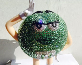 Green M&M OOAK rhinestone dispenser limited edition collectible