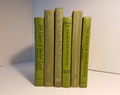 Set of 6 Dark Olive Green Books; Home or Wedding Decor; Instant Library; Book Display; Photo Prop
