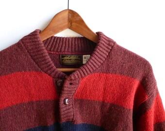 Vintage Eddie Bauer Striped Wool Sweater Mens Medium USA