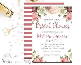 Printable Bridal Shower Invitation - Floral Bridal Shower - Rustic Bridal Shower - Wedding Shower - Boho Bridal - Elegant Bridal Shower -