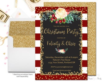Floral Christmas Party Invitation, Holiday Party Invitation, Staff Christmas Party, Office Christmas Party, Christmas Party Invites