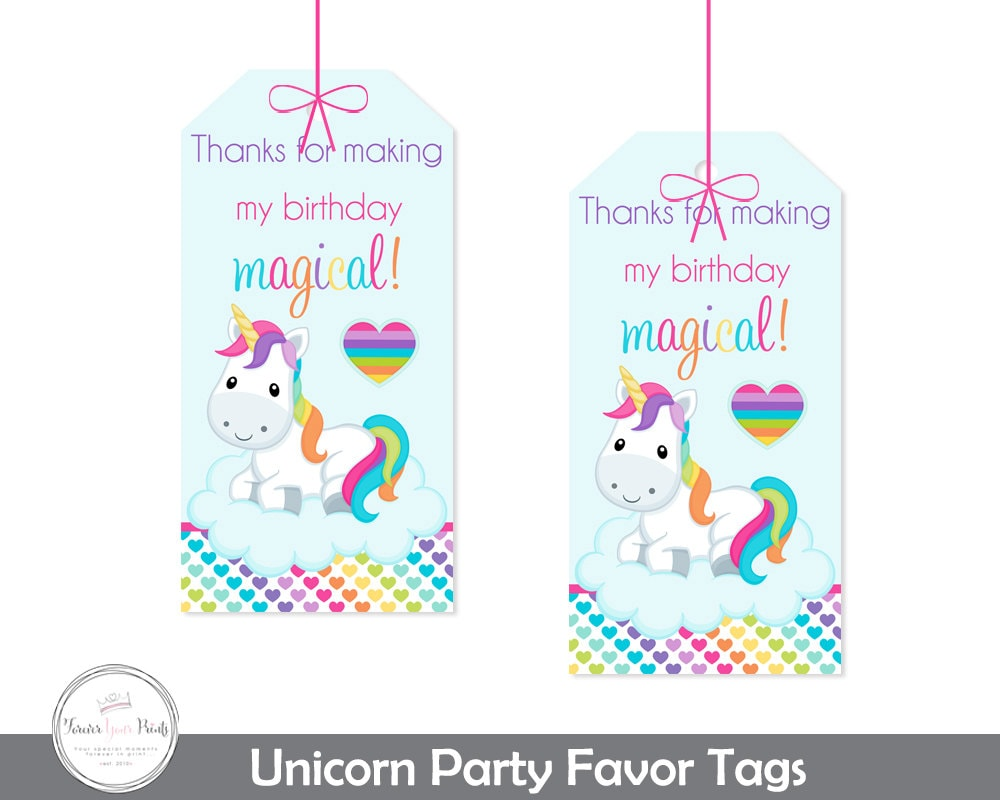 Unicorn Party Gift Tags Unicorn Party Thank You Tags Girls