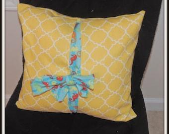 Yellow Bow  pillow, yellow tile pillow, yellow and blue bow throw pillow, yellow moroccan tile throw pillow, seahorse throw pillow