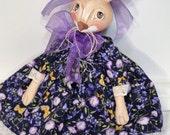 Primitive Bunny Rabbit Dark Purple dress cloth art doll