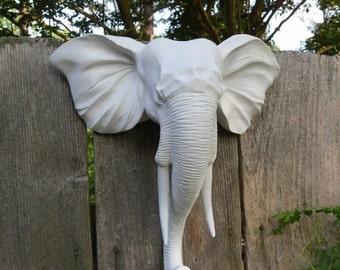SUMMER SALE Faux Taxidermy / Wall Mount Animal Head / Modern / Elephant Head Wall Decor / Matte White / Shabby Chic Decor