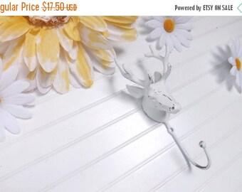 Deer Head  Hook / Wall Decor /  Antlers /  Metal wall hook /Bathroom hook / Fixture /Key Hanger / Shabby Chic Decor