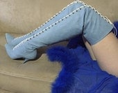 80s blue denim lace up over the knee high heel boots size 8-8.5