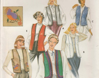 Vest Pattern Length and Sleeve Variations Trim Size Large Bust 38 - 40  Uncut Butterick 3971