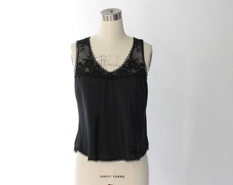 1970s Christian Dior Camisole Tank Top with Lace Trim // 70s Vintage Dior Black Cami // Medium