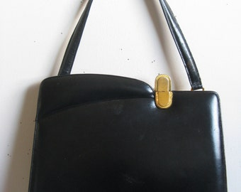 Black Vintage 60s Handbag 1960s Black Leather Paragon Kelly Style Handbag
