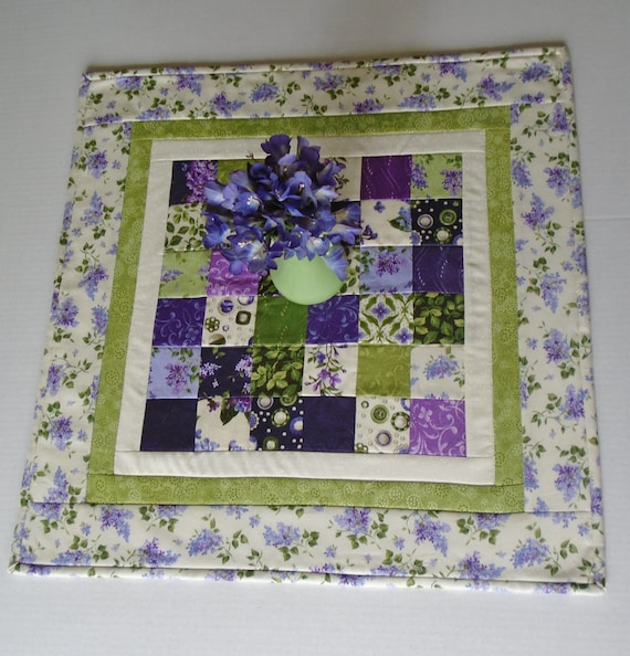 Floral Quilted Table Topper, Quilted Table Runner, Lilacs, Cottage Chic, Table Quilt, Purple Lavender Violet