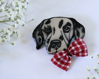 Dalmatian Dog With Bow Wearable Art Pin by Winnifreds Daughter