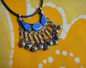 Arabic Inlaid Lapis Stone Collar Statement Necklace Kuchi Middle Eastern Belly Dancer Tribal Jingle Gift for Her