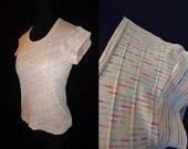 Pink Pastel Striped Vintage 1980's MIDRIFF Knit Women's Shirt Top S M