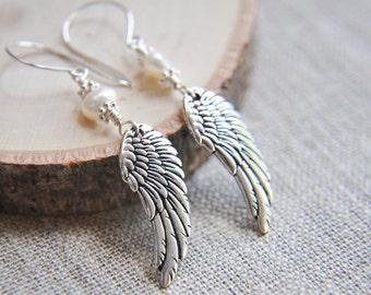 Silver Feather Earrings, Feather Earrings, Angel Wing Earrings, Angel Earrings, Guardian Angel Earrings, Silver Wing Earrings,Pearl Earrings