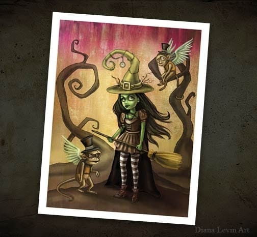Wicked Witch Of The West Flying On Her Broom Wizard of Oz Art Wicke...