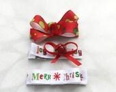 Christmas Hair Clip Set of Three Boutique Bow Tuxedo Bow Jingle Bell Bow No Slip Grip Ready to Ship