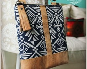 La Natalia Bag - Cross body bag -Navy blue bag - Classic bag - Aztec handbag - Cork Bag - Travel bag -