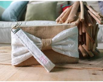 Burlap Wristlet - Personalized gift - Bridesmaids Gifts - Wedding Clutch - Burlap - satin lace - Lace Wristlet - Lace Bridesmaids gift