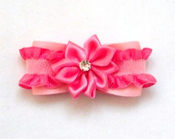 Pink lacy Dog Bow