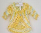 Toddler Sweater, Girls Yellow Sweater, Toddler Girls Granny Sweater, Toddler's Yellow Sweater