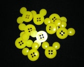 Mickey Mouse Plastic  Buttons/ Four holes Buttons /Sewing supplies / DIY craft supplies / Novelty Buttons/ Kids Craft Supplies