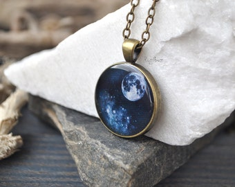 Space necklace - space jewelry, solar system, moon necklace, long chain brass, astronomy planet galaxy vintage - ready to ship