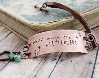 Boho Copper and Leather Bracelet - Nature Inspired - Walk Among the Wildflowers - Free Spirit Bracelet - Stamped Jewelry - Flower Jewelry