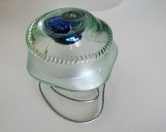 Wine Bottle Mushroom Yard Art or Tealight Candle holder Clear Glass Upcycled wine bottle