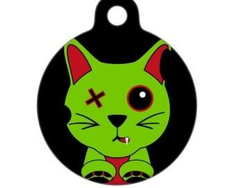 Pet ID Tag - Zombie Kitty Cat Pet Tag, Cat Tag, Luggage Tag, Child ID Tag