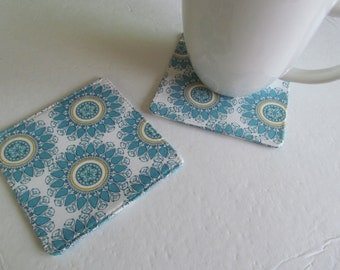 Set Of 2 Fabric Coasters/Flower