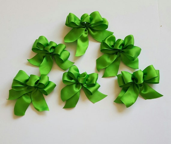 lime green christmas tree bows set of 6 green tree bows. Black Bedroom Furniture Sets. Home Design Ideas