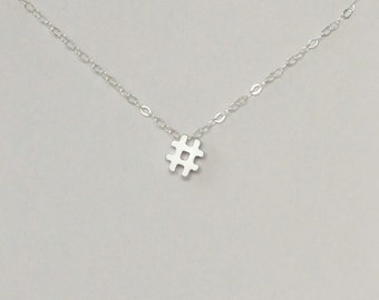 Hashtag Necklace, Rhodium Plated, Sterling Silver, Dainty Necklace, Christmas Gift, Bridesmaid Gift, Birthday Gift