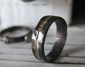 Man Wedding Band Rustic Wedding Band Man Wedding Ring Oxidized Ring Gold Black Ring Rustic Ring Unique Wedding Ring OOAK Ring Artisan