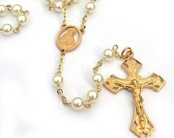 Gold Catholic Rosary Swarovski Cream Pearl Beads