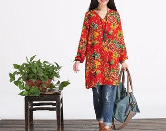 Loose Fitting Cotton Long Shirt Blouse Top Dress for Women Long Sleeved Women Clothing
