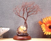 """Wire Tree of Life, Soul Mate sculpture, red Carnelian Sphere, Citrine Crystal, cabinet size, nature inspired art, unique home decor gift, 7"""""""