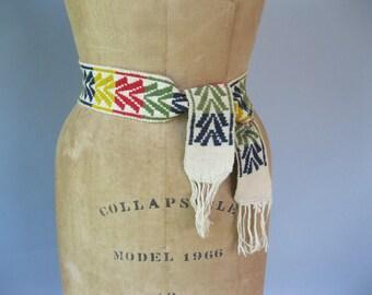 1960s Tapestry Belt - 60s Ethnic Embroidered Sash - Boho  Belt