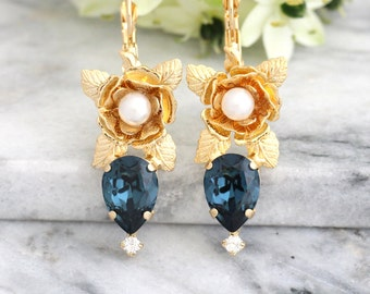 Blue Navy Earrings, Bridal Dark Blue Earrings, Blue Swarovski Earrings, Bohemian Earrings, Bridesmaids Earrings, Gift For Her, Drop Earrings