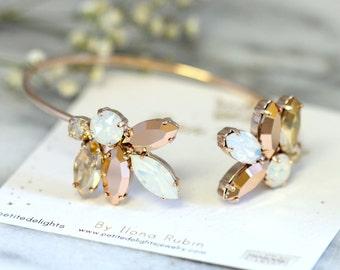 Bridal Bracelet,Swarovski Crystal Bracelet,Rose Gold Bracelet,Bridal Cuff,Bridesmaids Jewelry,Cuff Bracelet,Open cuff Bracelet,Gold Bracelet